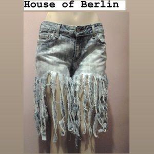 Denim stringy shorts